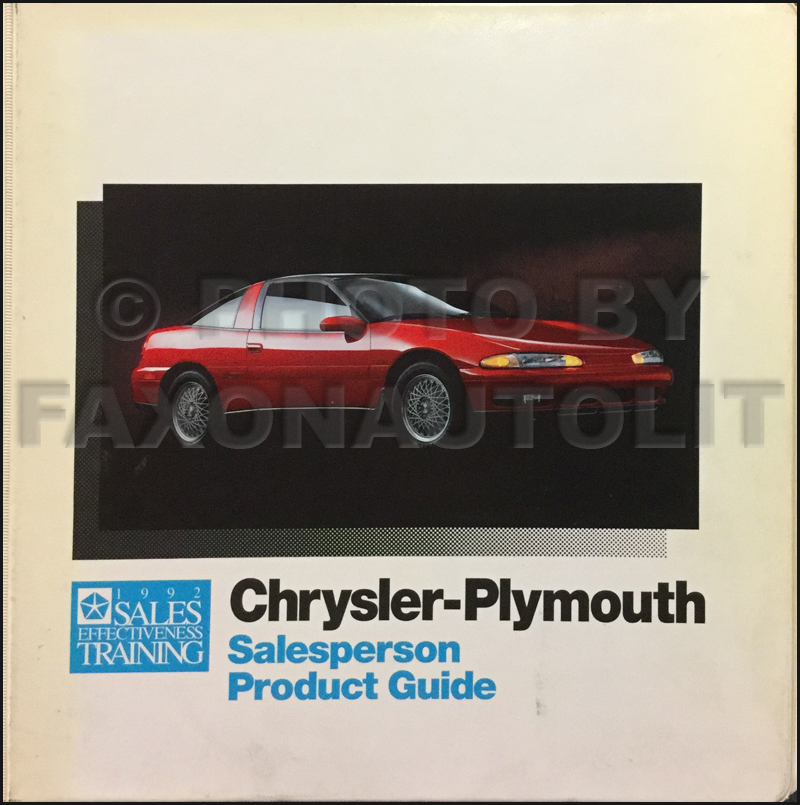 1992 Chrysler Plymouth Salesperson Product Guide Original