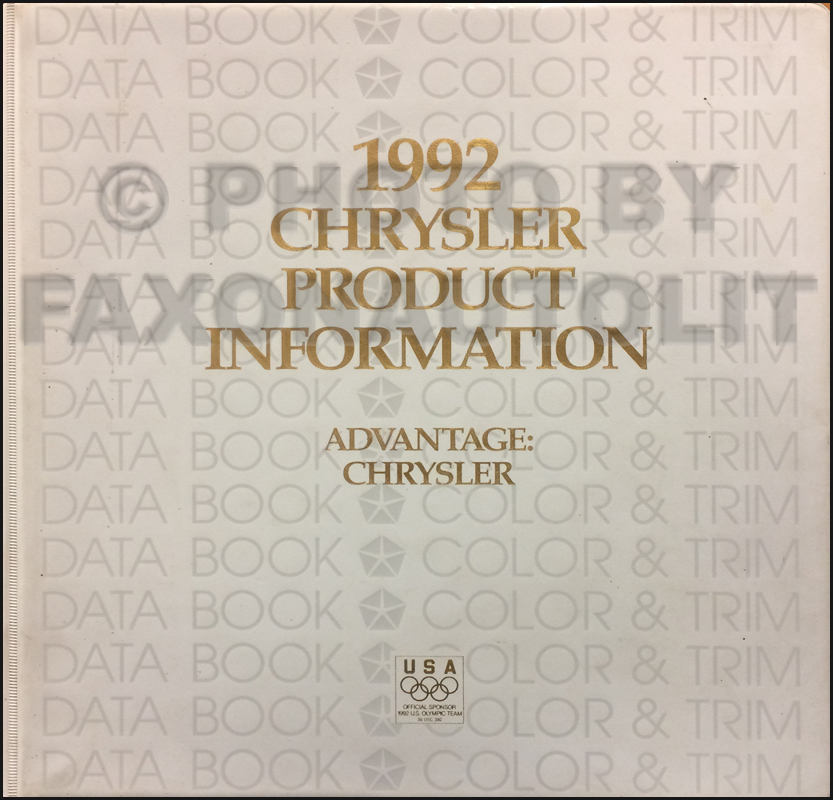 1992 Chrysler Color & Upholstery Album and Data Book Original