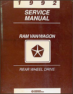 1992 Dodge Ram Van & Wagon Shop Manual Original B100-B350
