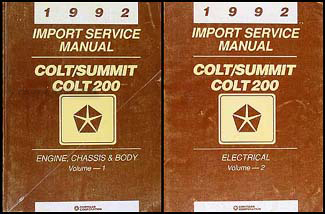 1992 Colt, 200, & Summit Shop Manual Original 2 Volume Set