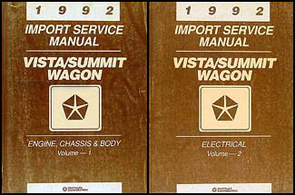 1992 Colt Vista & Summit Wagon Shop Manual Original 2 Volume Set