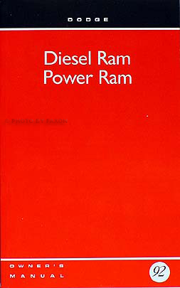 1992 Dodge Diesel Ram Pickup Truck Owner's Manual Original