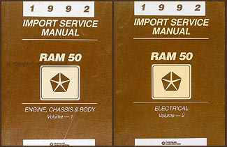 1992 Dodge Ram 50 Truck Shop Manual Original 2 Volume Set