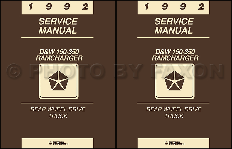 1992 Dodge Pickup Truck & Ramcharger Repair Shop Manual Reprint 2 Volume Set
