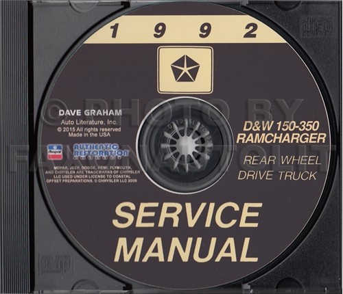 1992 Dodge Ramcharger and Pickup D&W 150-350 Repair Shop Manual CD