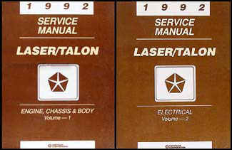 1992 Plymouth Laser Eagle Talon Repair Shop Manual Original 2 Volume Set