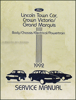 1992 Lincoln Town Car, Crown Victoria Grand Marquis Repair Manual Original