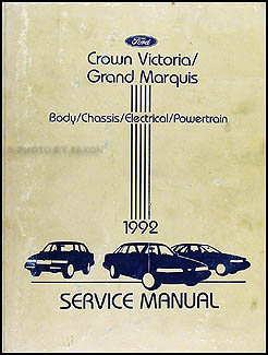 1992 Ford Crown Victoria Mercury Grand Marquis Repair Shop Manual Original