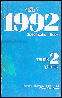 1992 Ford Pickup and Van Service Specifications Book Original