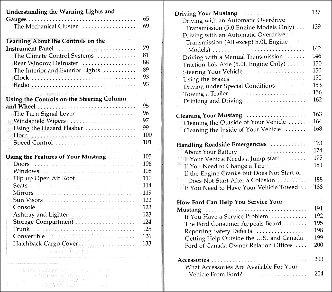 1992 Ford Mustang Owners Manual Original Package · Table of Contents Page 1  · Table of Contents Page 2 & 3