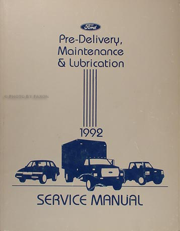 1992 Maintenance and Lubrication Manual Original Ford Lincoln Mercury