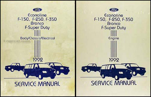 1992 Ford Truck and Van Repair Shop Manual Econoline F150 F250 F350 Bronco