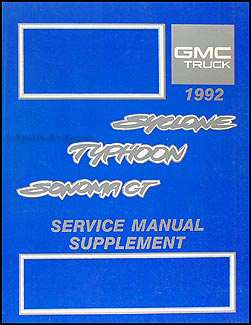 1992 GMC Typhoon and Sonoma GT Service Manual Original Supp.