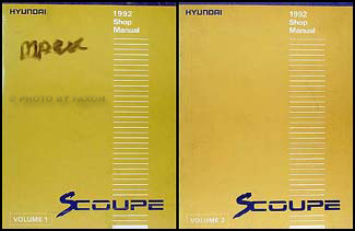 1992 Hyundai Scoupe Shop Manual Original 2 Volume Set