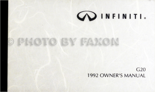 1992 Infiniti G20 Owner's Manual Original