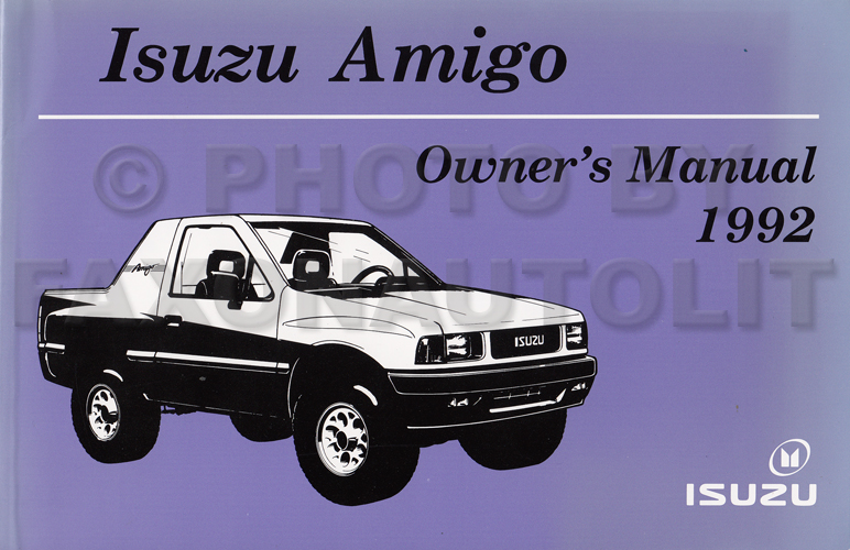 1992 Isuzu Amigo Owner's Manual Original