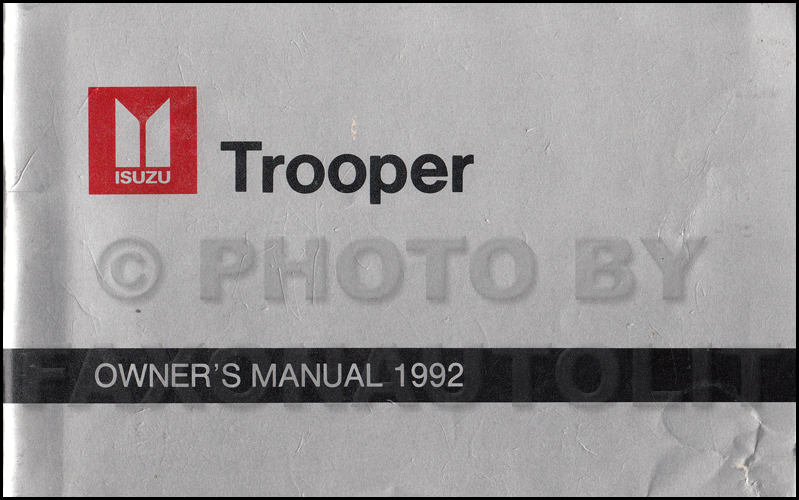 1992 Isuzu Trooper Owner's Manual Original Canadian