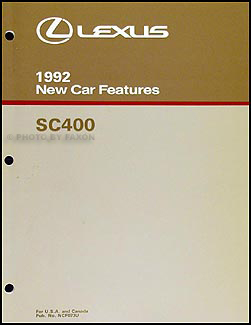 1992 Lexus SC 400 Features Manual Original