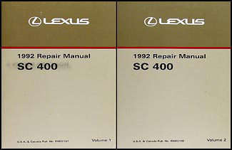 1992 Lexus SC 400 Repair Manual Original 2 Volume Set SC400