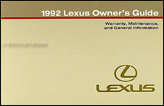 1992 Lexus Warranty, Maintenance Record, and General Information