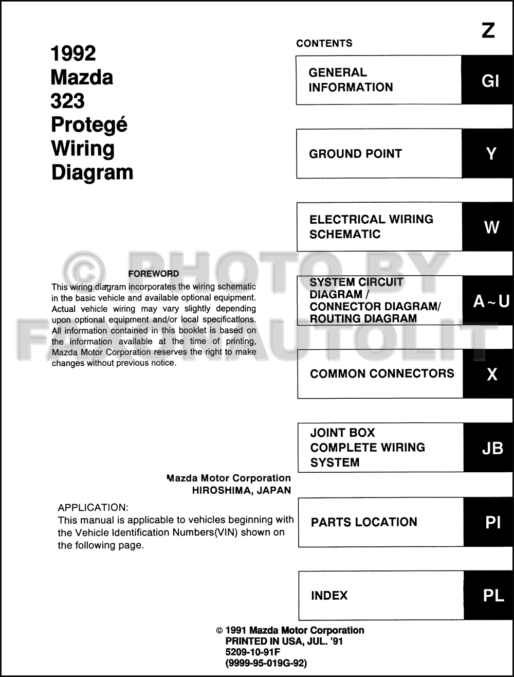 1992 Mazda 323 And Protege Wiring Diagram Manual Original J B Click On Thumbnail To Zoom