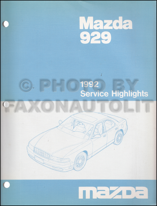 1992 Mazda 929 Service Highlights Original Service Training Manual