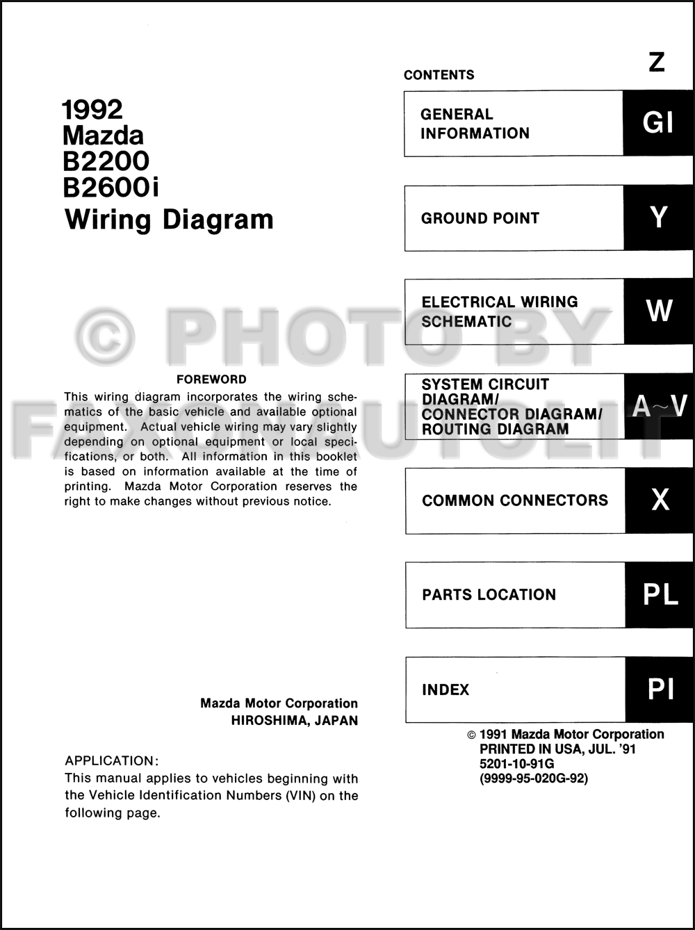 1992 mazda b2200 b2600i pickup truck wiring diagram manual original1991 Mazda B2200 Wiring Diagram #21