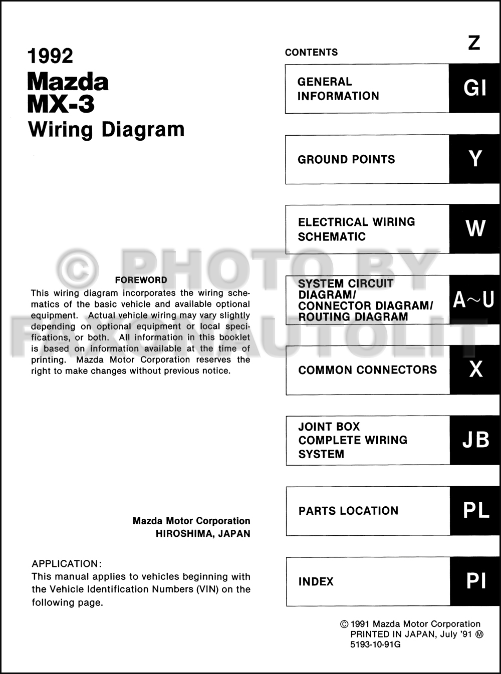 1992 Mazda MX-3 Wiring Diagram Manual Original. click on thumbnail to zoom