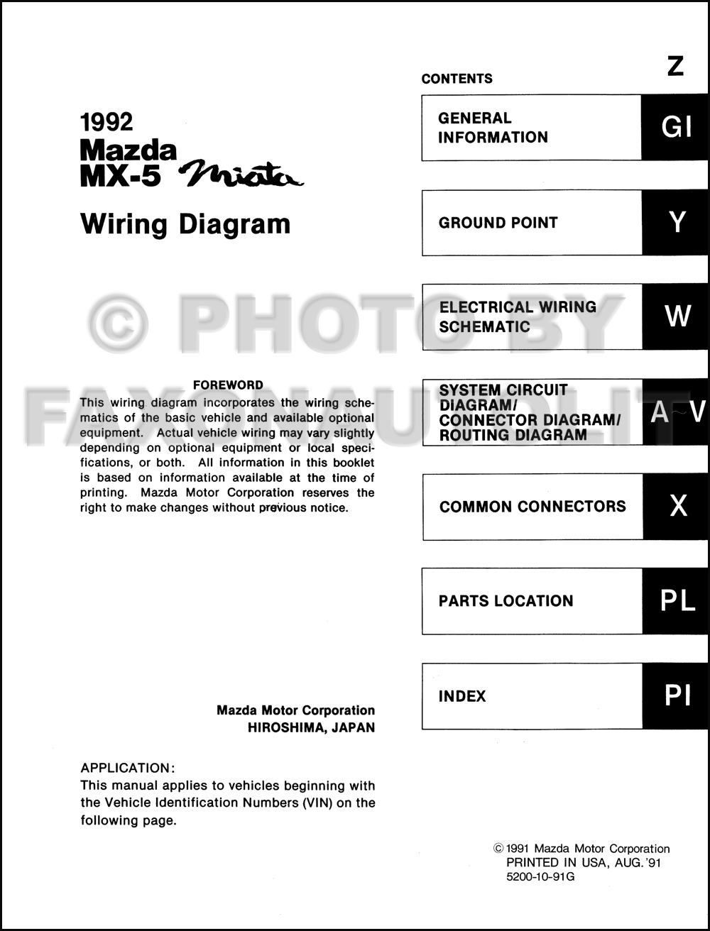 1992 mazda mx-5 miata wiring diagram manual original  click on thumbnail to  zoom