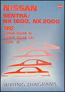 1992 Nissan Sentra & NX 1600/2000 Wiring Diagram Manual Original