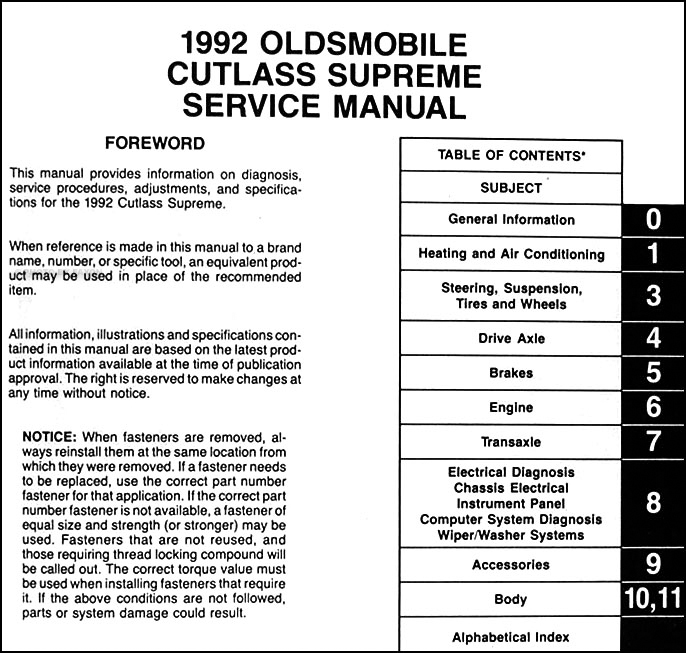 1992 Oldsmobile Cutlass Supreme Repair Shop Manual Original