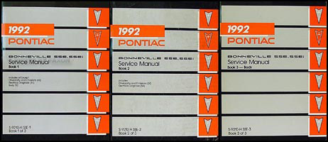 1992 Pontiac Bonneville, SSE, SSEi Repair Manual Original 3 Volume Set