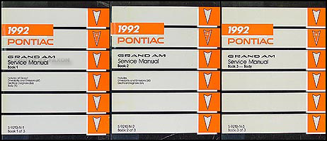 1992 Pontiac Grand Am Repair Manual Original 3 Volume Set