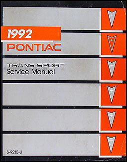 1992 Pontiac Trans Sport Van Repair Manual Original