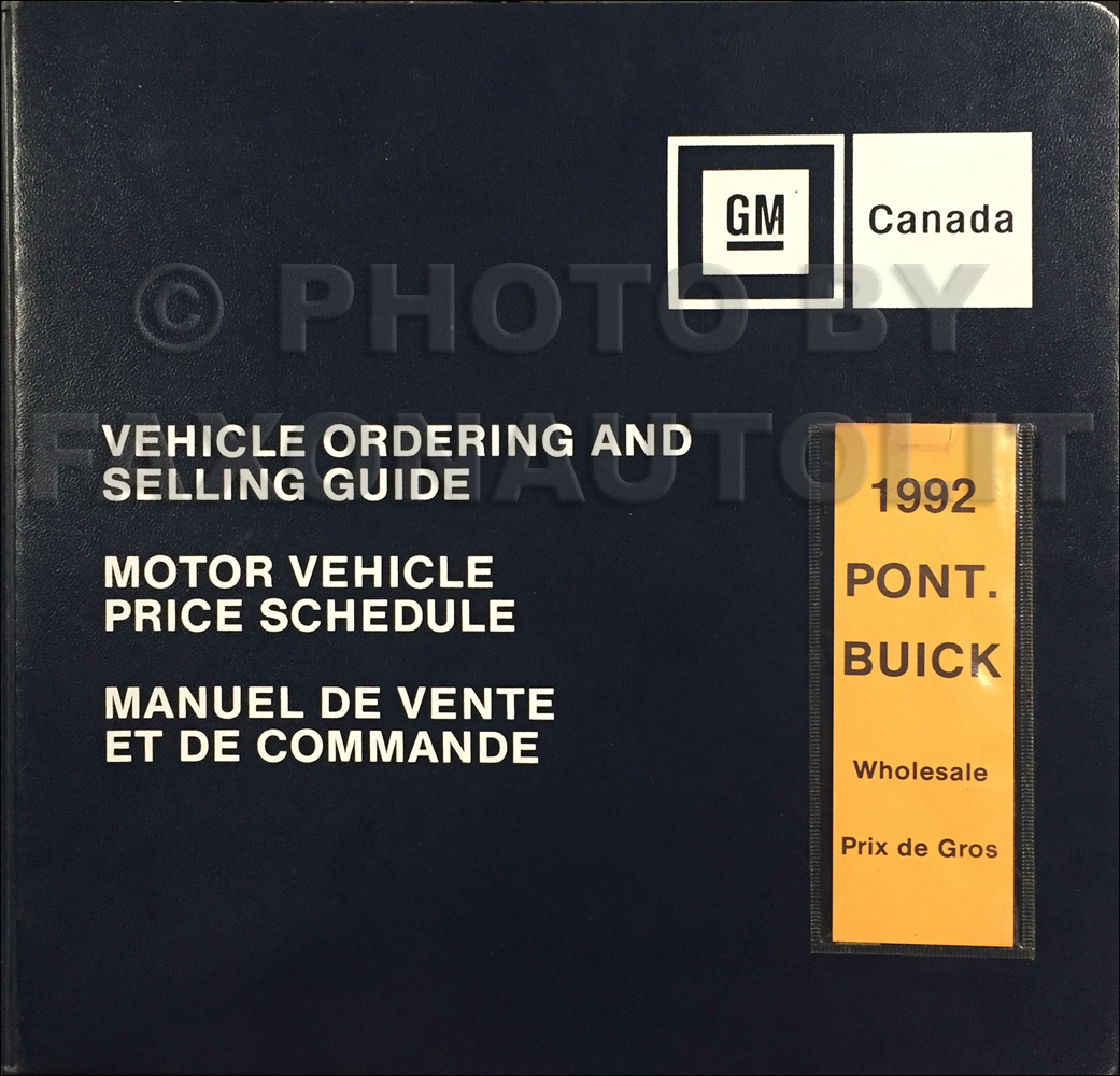 1992 Pontiac and Buick Color and Upholstery Dealer Album/Data Book Canadian