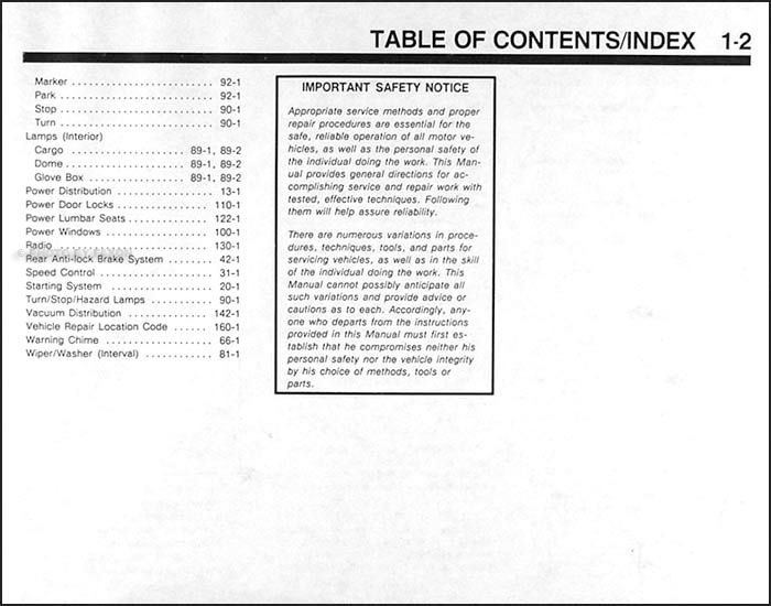 Table of Contents Page 2