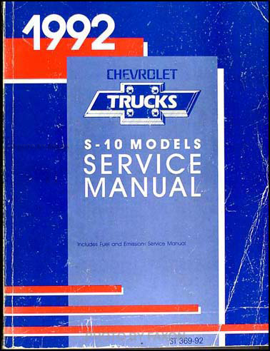 1992 Chevrolet S-10 Pickup & Blazer Shop Manual Original
