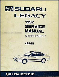 1992 Subaru Legacy ABS-2E Brakes Repair Manual Original Supplement