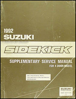 1992 Suzuki Sidekick 4 Door Repair Manual Supplement Original