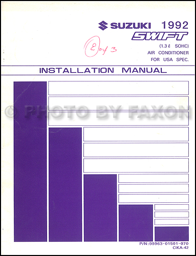 1992 Suzuki Swift SOHC Air Conditioner Installation Manual Original