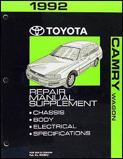 1992 Toyota Camry Wagon Repair Manual Original Supplment