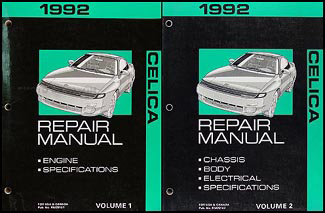 1992 Toyota Celica Repair Manual Original 2 Volume Set