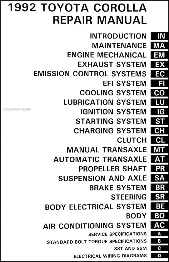 1992 toyota corolla repair shop manual original rh faxonautoliterature com toyota corolla repair manual download toyota corolla repair manual download
