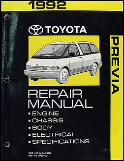1992 Toyota Previa Van Repair Manual Original