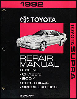 1992 Toyota Supra Repair Manual Original