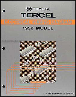 1992 Toyota Tercel Wiring Diagram Manual OriginalFaxon Auto Literature