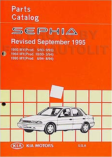 1993-1995 Kia Sephia Parts Book Original