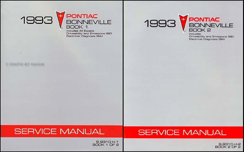 1993 Pontiac Bonneville Shop Manual Original 2 Volume Set