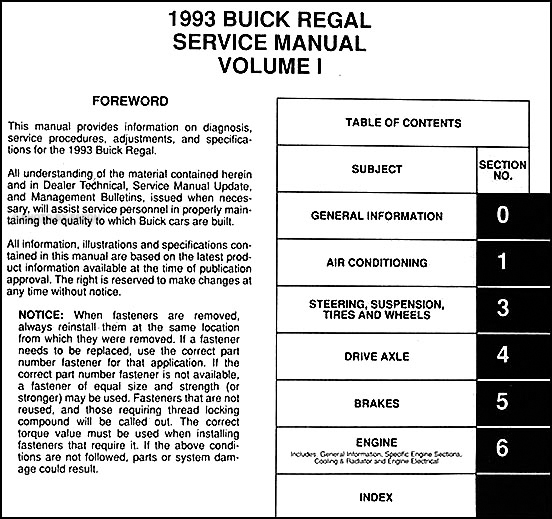 1993 buick regal repair shop manual original 2 volume set rh faxonautoliterature com 2011 buick regal service manual pdf 2003 buick regal repair manual