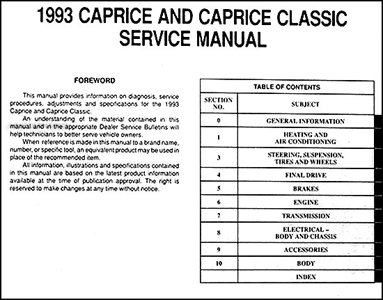 1993 chevy caprice classic repair shop manual original rh faxonautoliterature com 1993 Chevy Caprice Wagon with 17 Wheels 99 Chevy Caprice